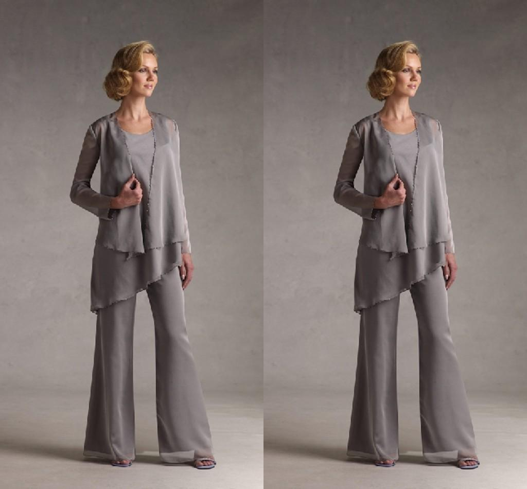 Modest Elegant MotherS Pants Suits With Matching Jacket Cheap Personalized Of The Bride Groom