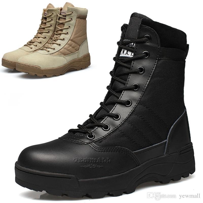 Men's Military Boots Canvas Vamp Swat Tactical Desert Combat Boots ...