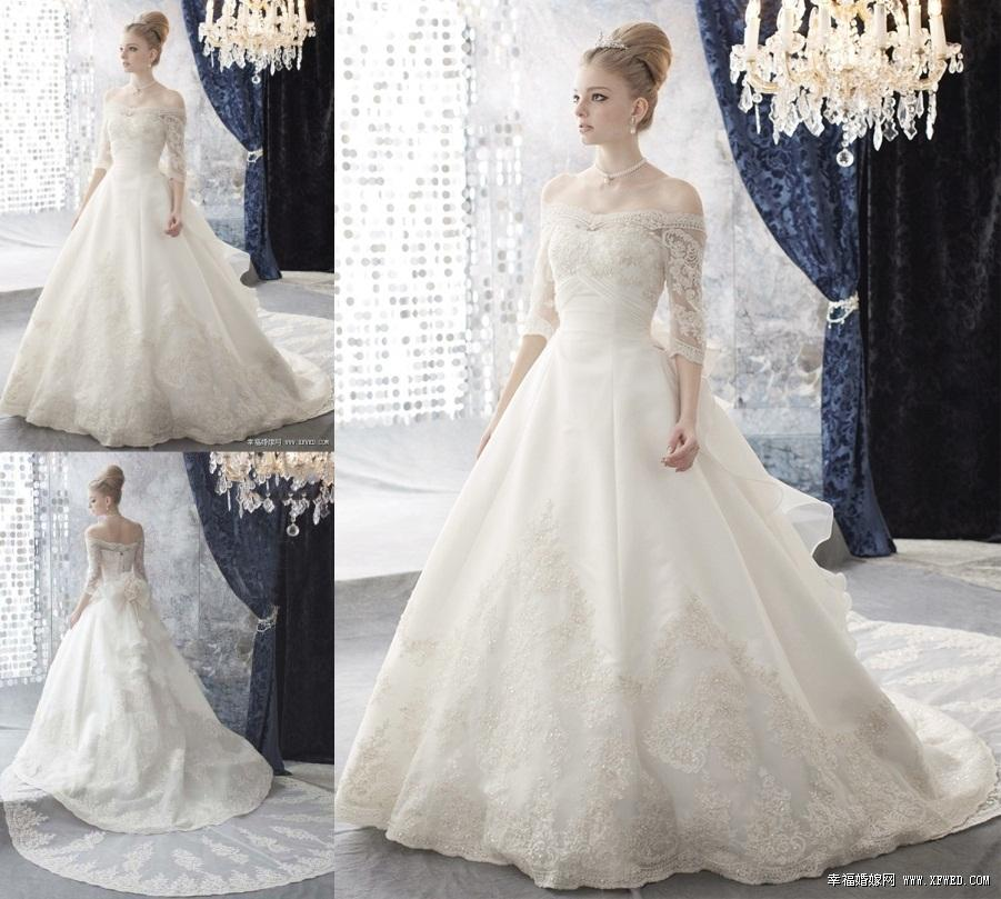 2015 Vintage Ball Gown Lace Wedding Gowns Off the Shoulder Half ...