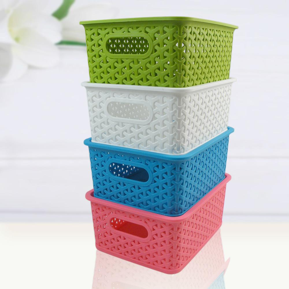 3319 Plastic Woven Storage Baskets Toy Models Books Storage Basket Storage  Box Desktop Finishing Box Basket Storage Basket Online With $42.45/Piece On  ...