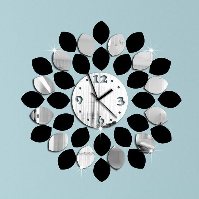 36pcs Big Leaf Black And Silver Wall Clock Modern Design Luxury Mirror Wall Clock 3d Crystal Mirror Wall Clocks Free Shipping