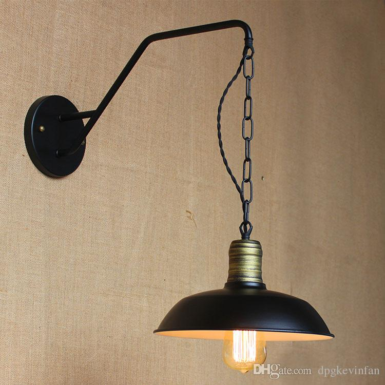 Iron Retro Hanging Chain Black Metal Lampshade Wall Lights Outdoor