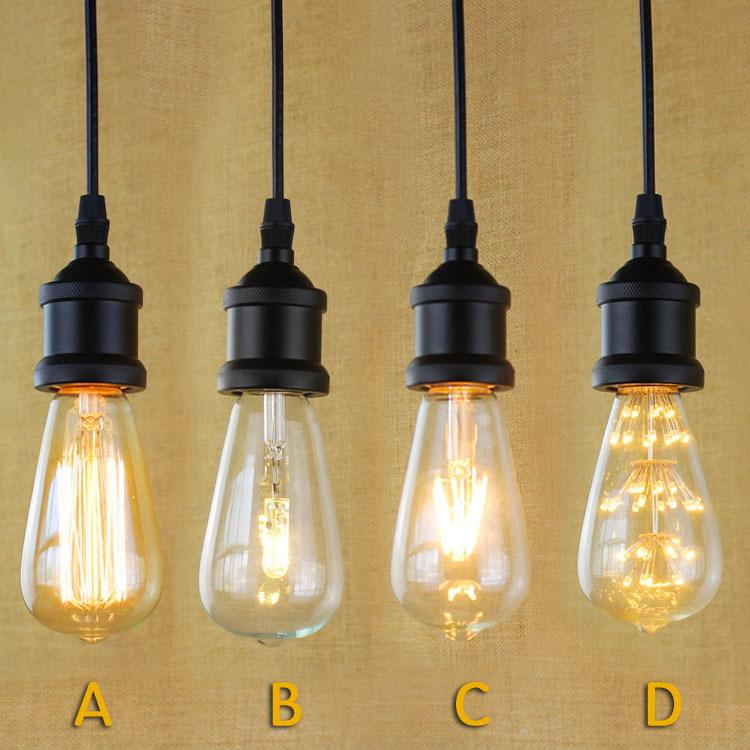 Black Pendant Lighting Industrial Edison Mini Pendant Hanging L& Vintage 1-Light Fixture Antique Pendant L&s Retro Edison Pendant Light E27 ST64 BULB ... & Black Pendant Lighting Industrial Edison Mini Pendant Hanging Lamp ... azcodes.com