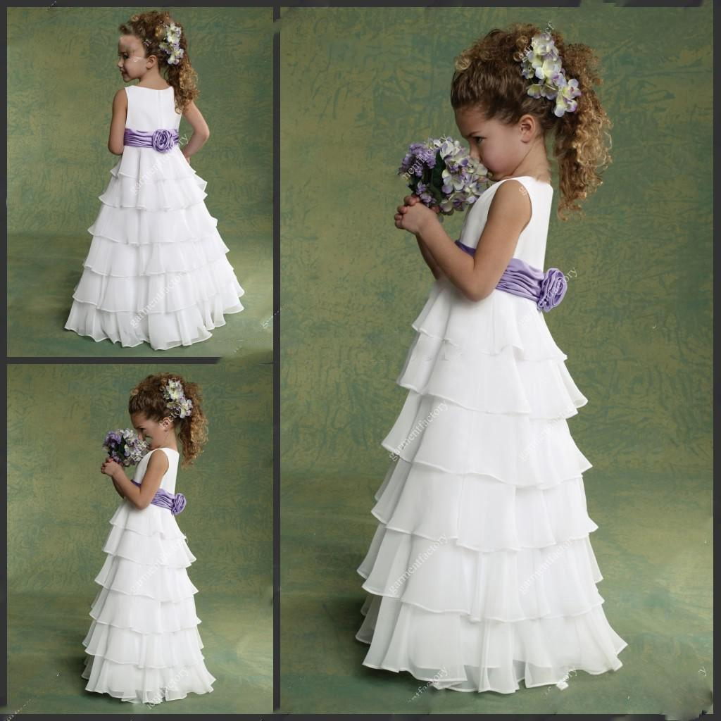 2015 Cheap Junior Flower Girls Dresses Chiffon White And Purple Many Layers F