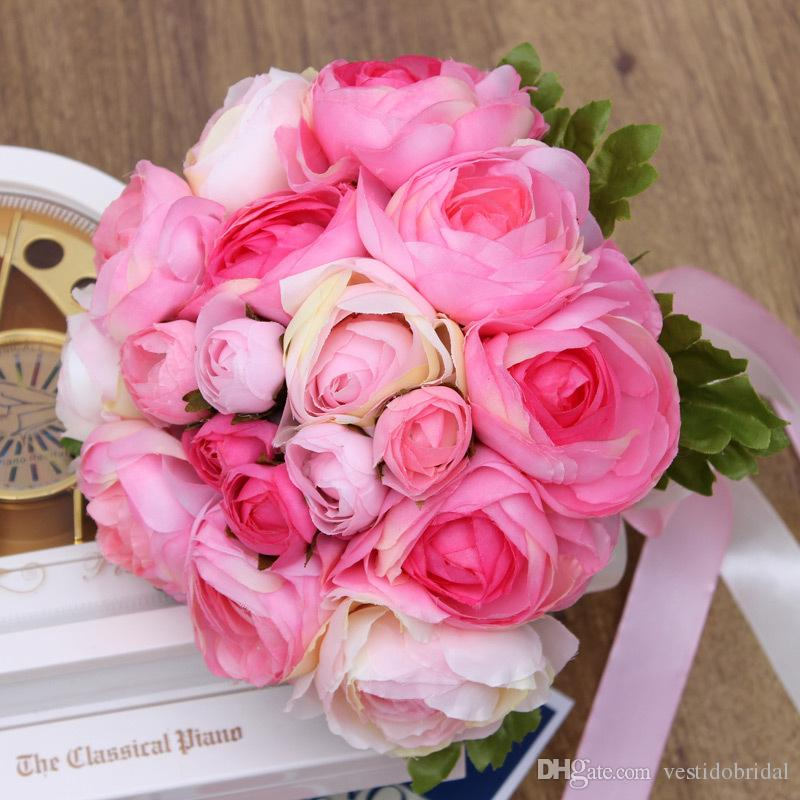 Best Selling Pink Wedding Accessories Bridal Bouquet Shinning Bow Bridemsaid Hand Tied Flower