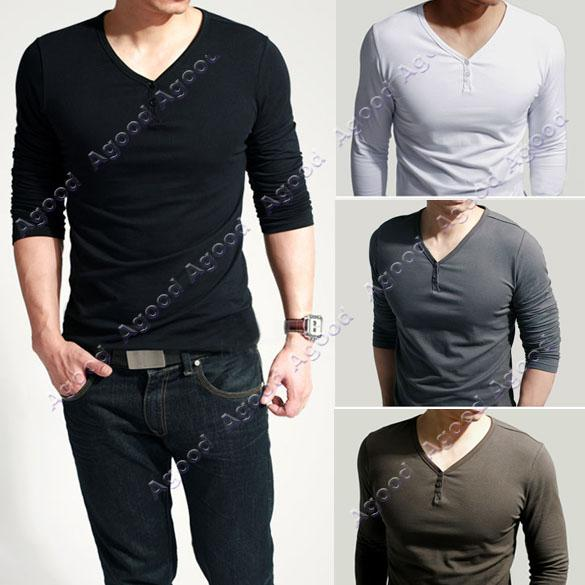 2015 New Fashion Slim Fits Men'S Comfort Lycra Deep V Neck Stylish ...