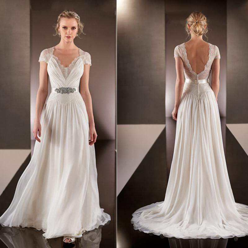 Discount custom chiffon beach wedding dresses 2016 vintage for Low waist wedding dress