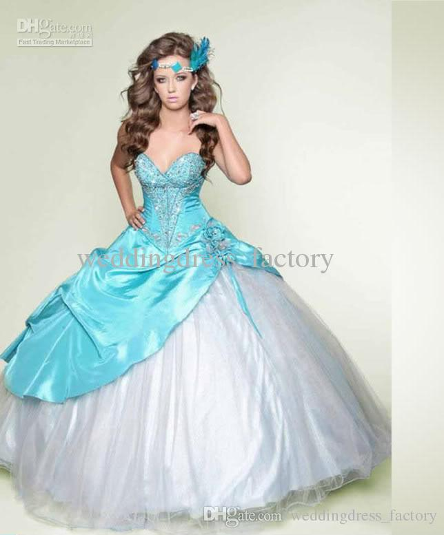 2015 High Quality Blue And White Ball Gown Sweetheart Beaded Satin ...