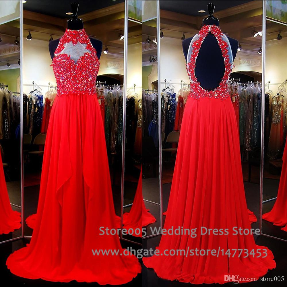 Miss Universe Chiffon Teen Pageant Dresses For Women High Neck Red ...