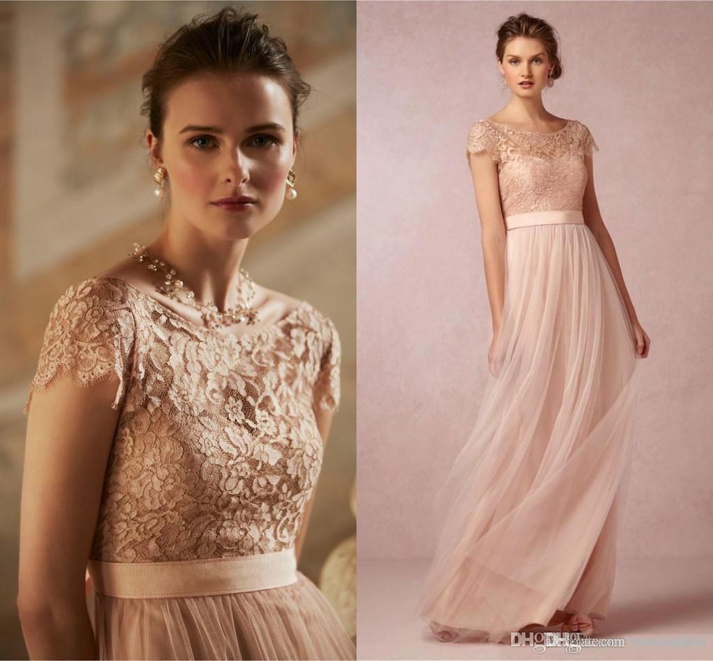 2015 Hot Cheap Blush Pink Bridesmaid Dresses Short Sleeve