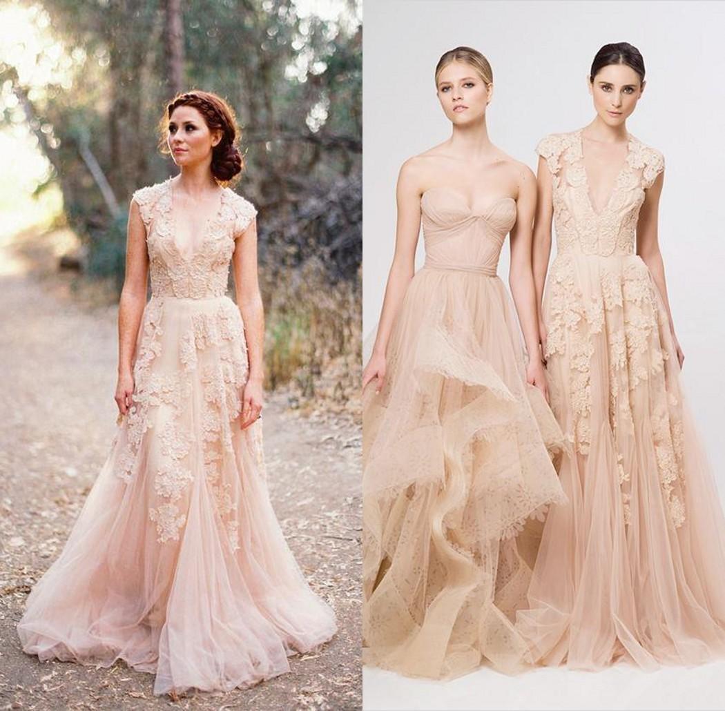 Discount Elegant Reem Acra Wedding Dresses 2014 Deep V