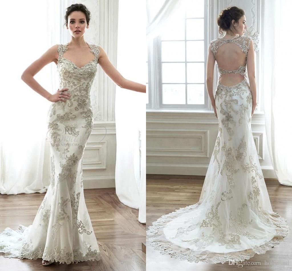 Elegant Scoop Neck Lace Mermaid Wedding Dresses 2016 With
