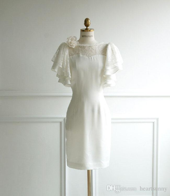 Sheath short cocktail dresses off white or black for Short white wedding dresses under 100