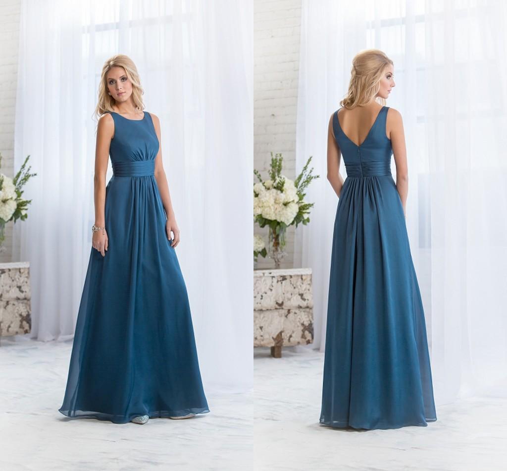 Long Teal Blue Bridesmaids Dresses Scoop Neck Chiffon