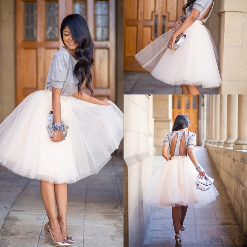2016 Knee Length White Tulle Tutu Skirts for Adults Custom Made A ...