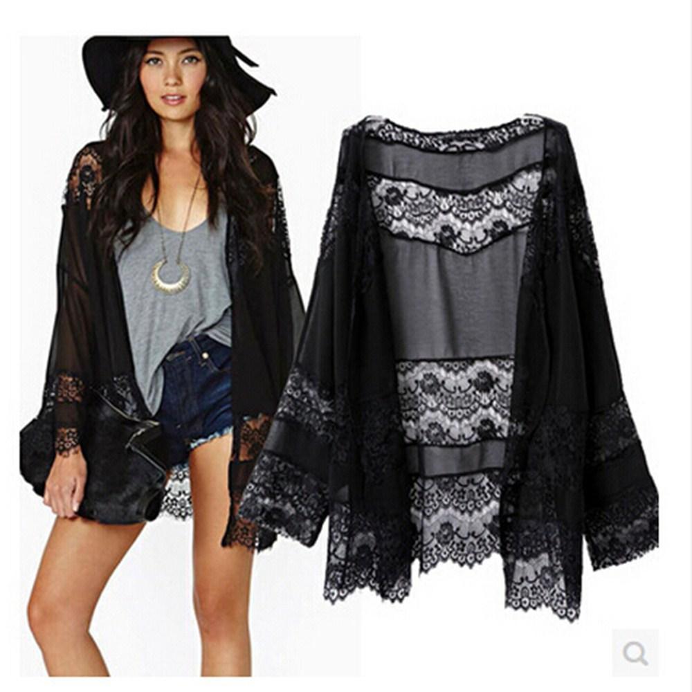 Ebay2015 Ebay Outside Europe And America Stitching Lace Shawl Long-sleeved Kimono Jacket Original Single Online with $40.84/Piece on Sulifanga's Store
