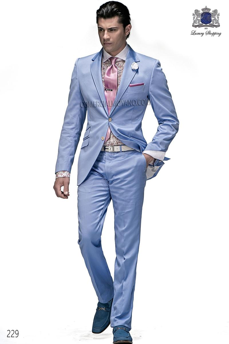 2015 New Arrival Light Sky Blue Jacket Men Suits Jacket Pants Tie ...