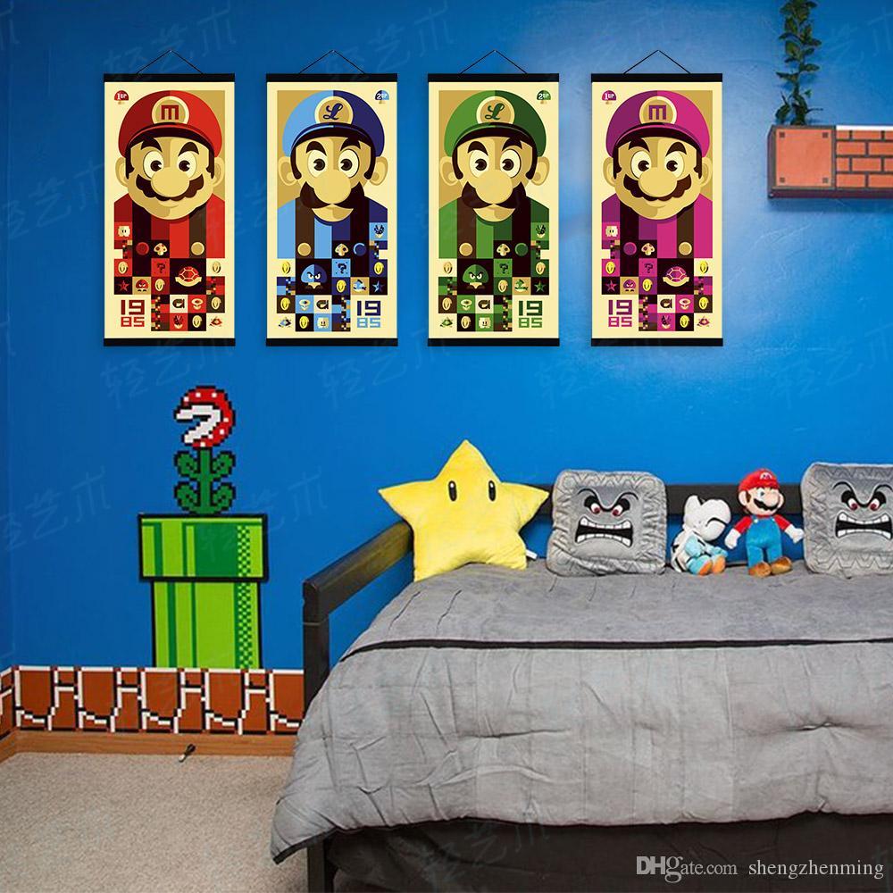 Mild Art Anime Games Colorful Mario Bros Set Vintage Japanese Super Mario Bedroom Decor