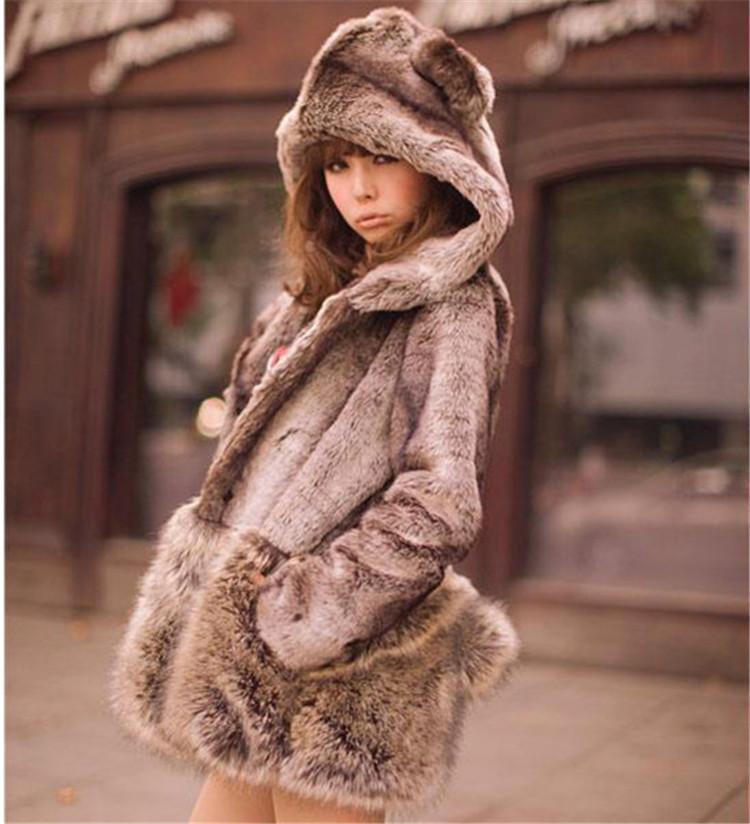 Best Fashion Faux Fur Hooded Long Sleeve Coat Little Bear Ears