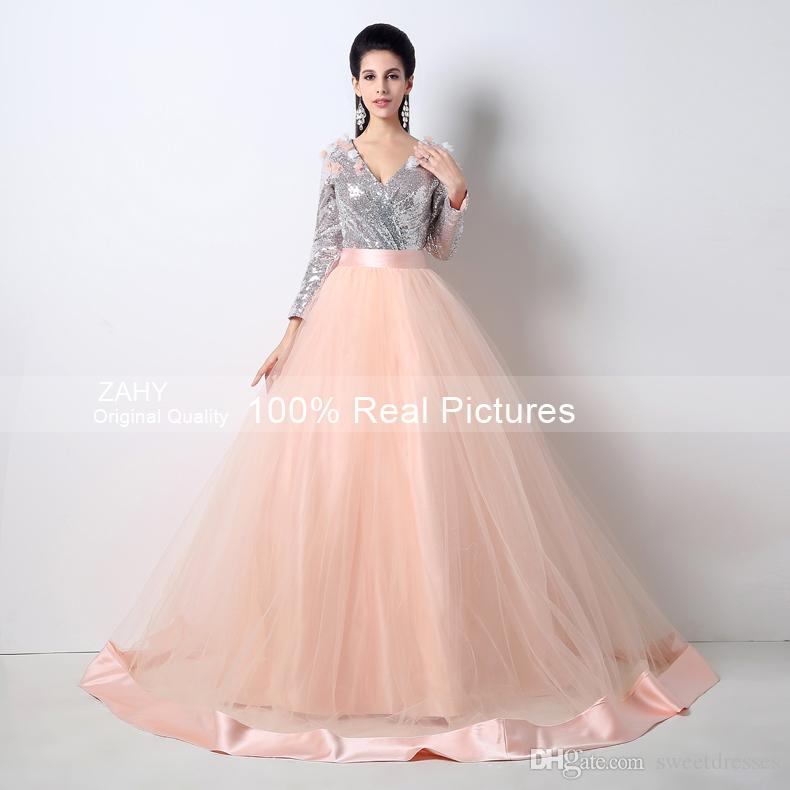 Fashionable Two Pieces 2015 Cheap Prom Dresses V-neck Sequined ...