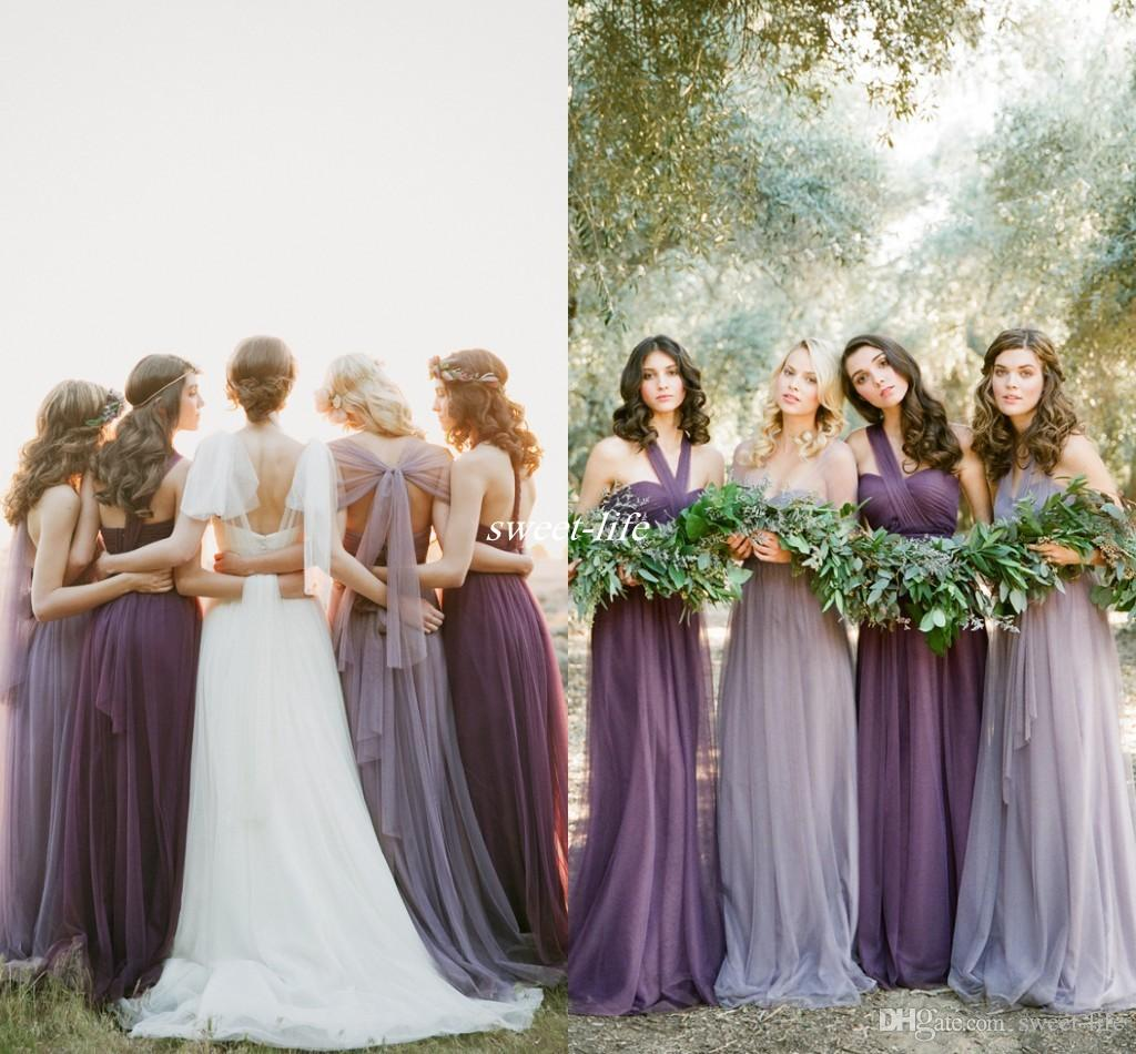 Lavender Tulle Long Bridesmaid Dresses 2016 Elegant