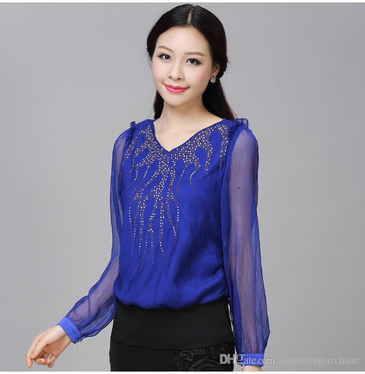 Fashion Women Ladies Female Elegant Casual Chiffon Shirts Tops ...