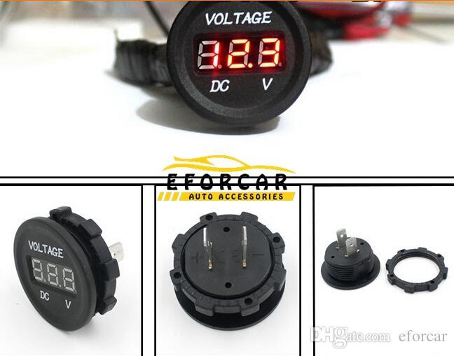 2017 auto parts gauge volt meters dc 12v 24v motorcycle led digital display voltmeter voltage. Black Bedroom Furniture Sets. Home Design Ideas