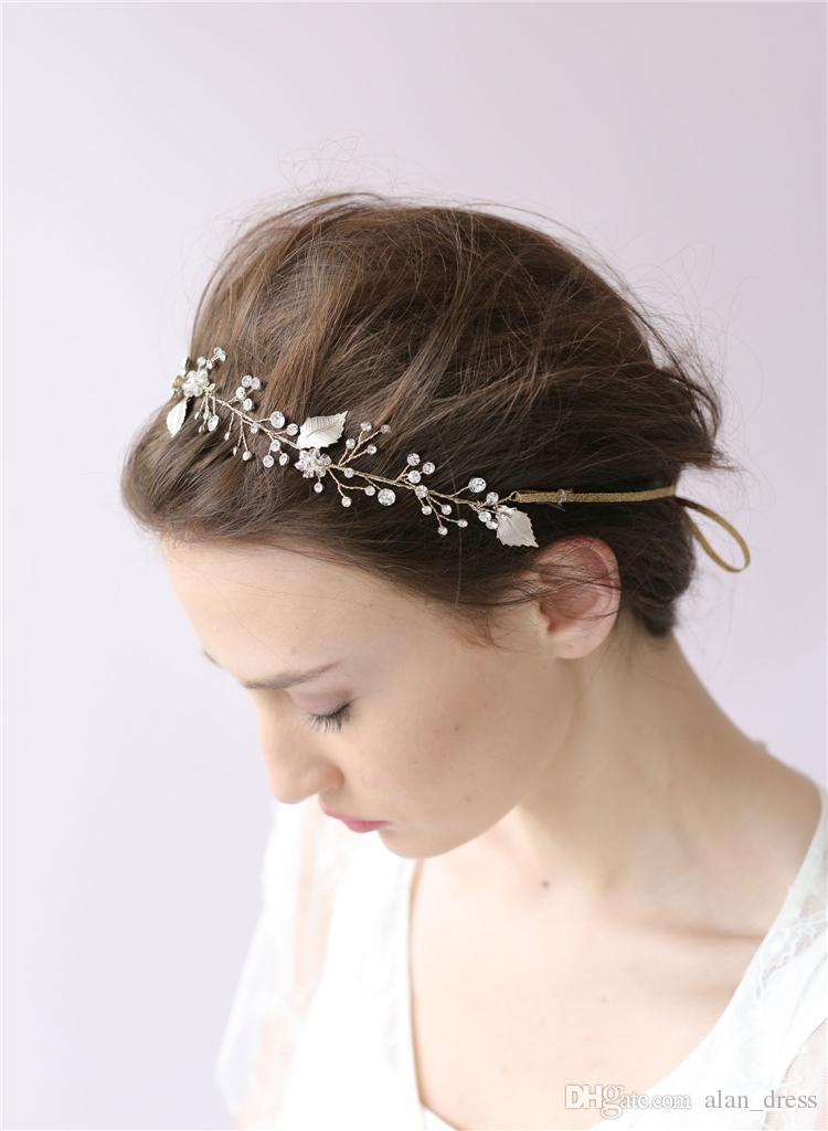 Crystal Sparkle Cabello vid Pétalos boda de la flor de la venda Novia Accesorios Accesorios para