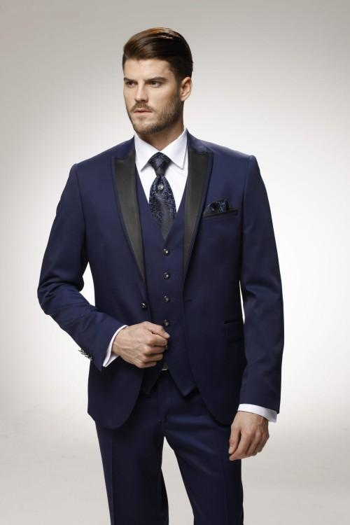 Wedding Suits For Men Navy Blue Grooms Tuxedos Three Piece Mens ...