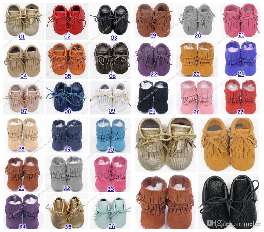 new 2016 cow leather baby moccasins suede leather baby moccs baby fringe boots girls 2layer fringe tassel 54colors choose free fedex ship