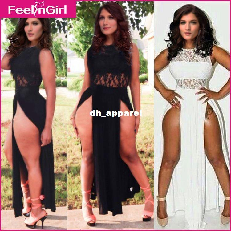 Drop Ship White Black Lace Sexy Split Maxi Dress Long Fitted Dress ...