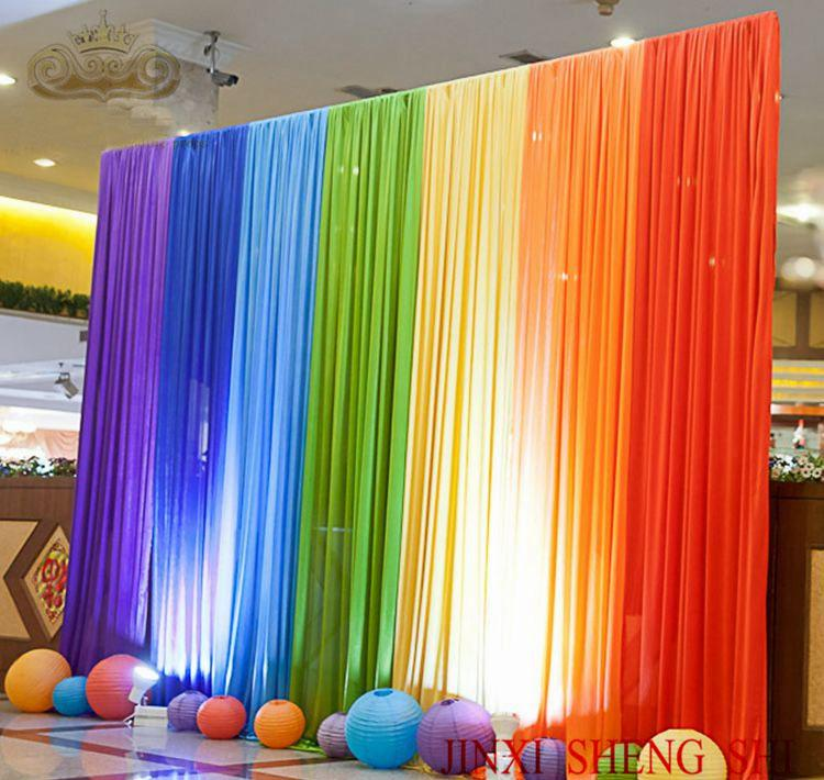 Wholesale 3x3m rainbow color silk wedding backdrops for for Background curtain decoration