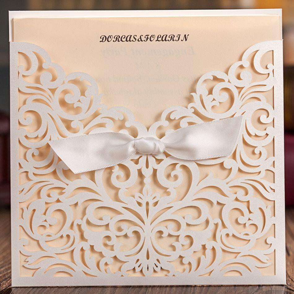 Delicate Laser Cut Wedding Invitation With Embossed Flora Free – Embossed Invitation Cards