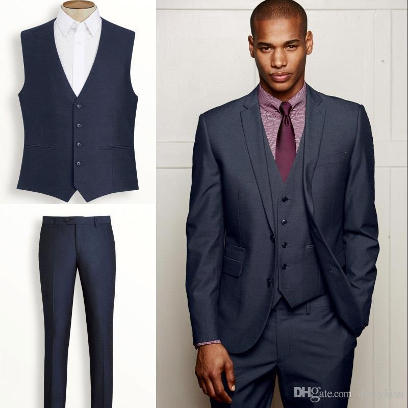 2014 Nay Blue Blue Shiny Slim Fit Suit Two Buttons Botch Lapel
