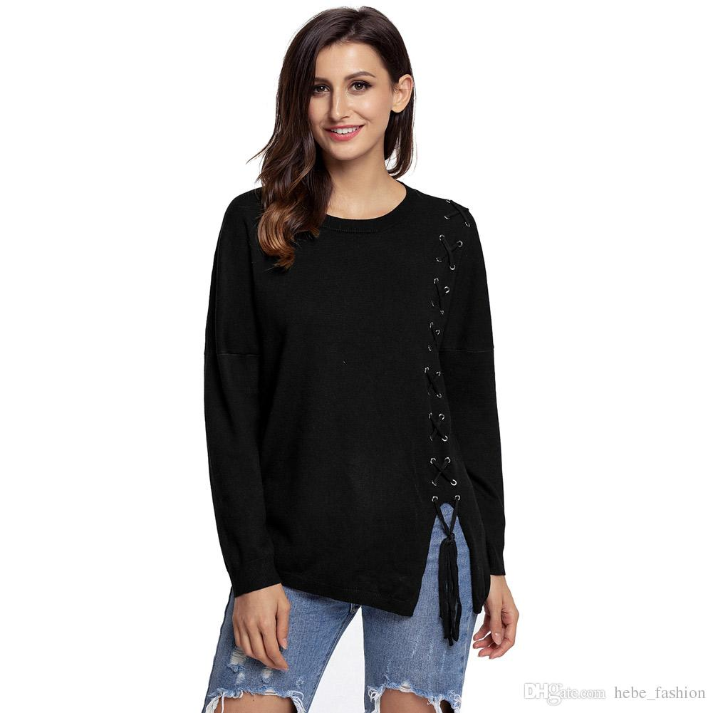 Black/Grey Lace Up Side Lightweight Sweater New Winter Style ...