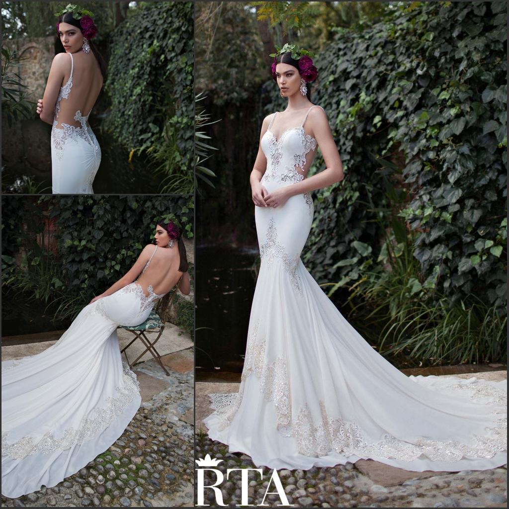 2015 Sexy Berta Wedding Dresses Spaghetti Straps Perals Backless ...
