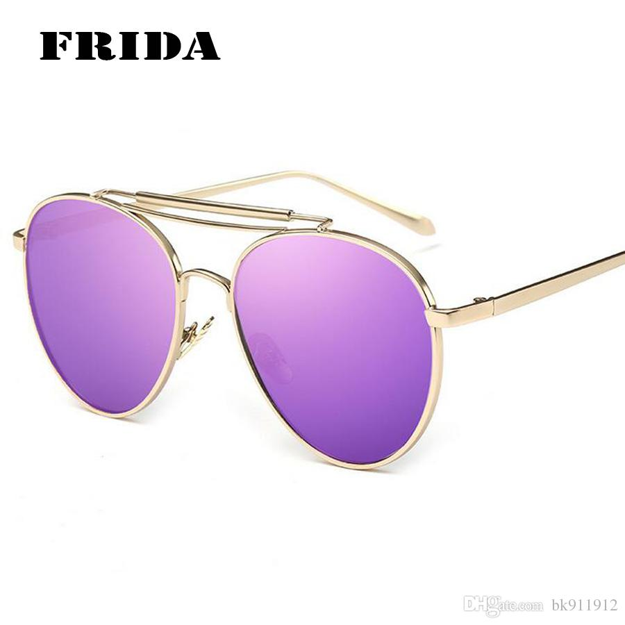 aviator sunglasses designer  2016 New Fashion Women Aviator Sunglasses Brand Designer Reflected ...