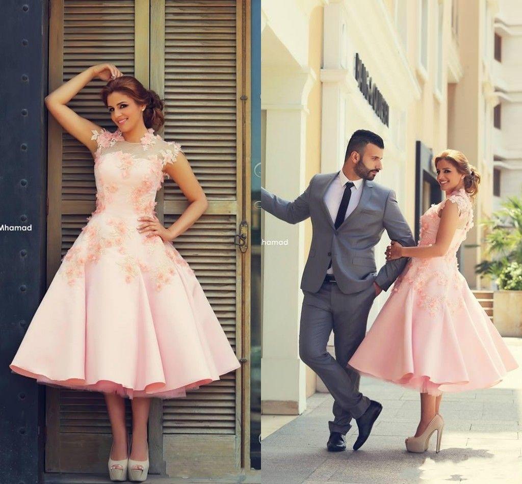 Discount 2015 Pink Tea Length Beach Wedding Dresses Flowers Sheer ...