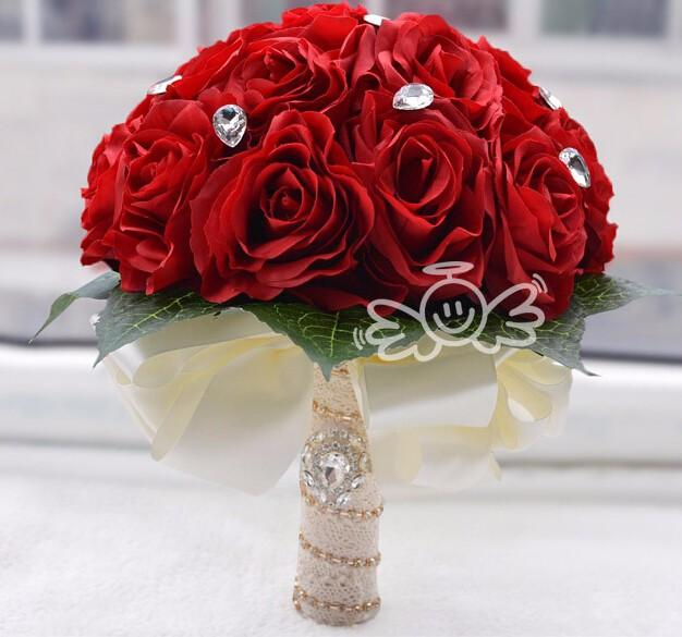 Artificial Wedding Bouquets Liverpool : Wedding bouquet red bridesmaid flower ramo de