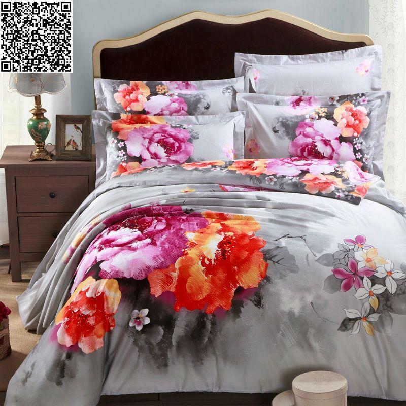 Wholesale oil painting bedding set 3d king queen size 5 piece queen bedroom set under 500