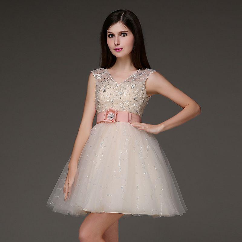 Short Puffy Beige Prom Dresses Cap Sleeve V Neck Sequin Tulle ...
