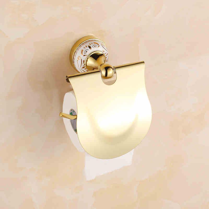 2017 Golden Copper Toilet Paper Holder Paper Rack Gold Plated Towel Rack Bathroom Accessories