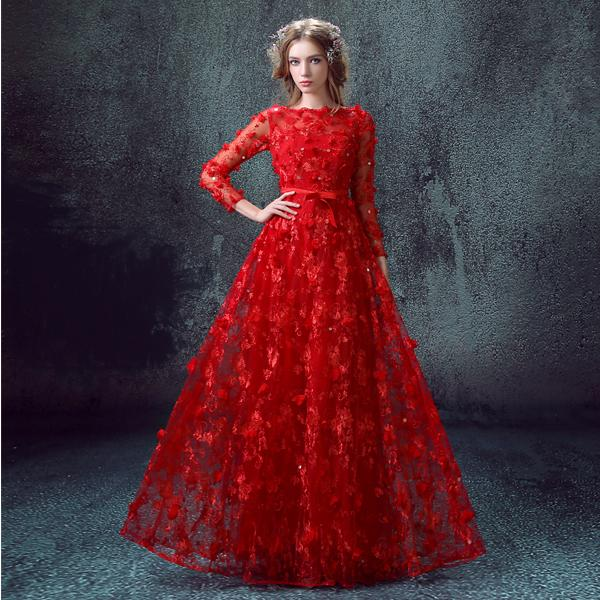 Robe De Soiree Luxury Red Long Evening Dress 2016 Bride Lace ...
