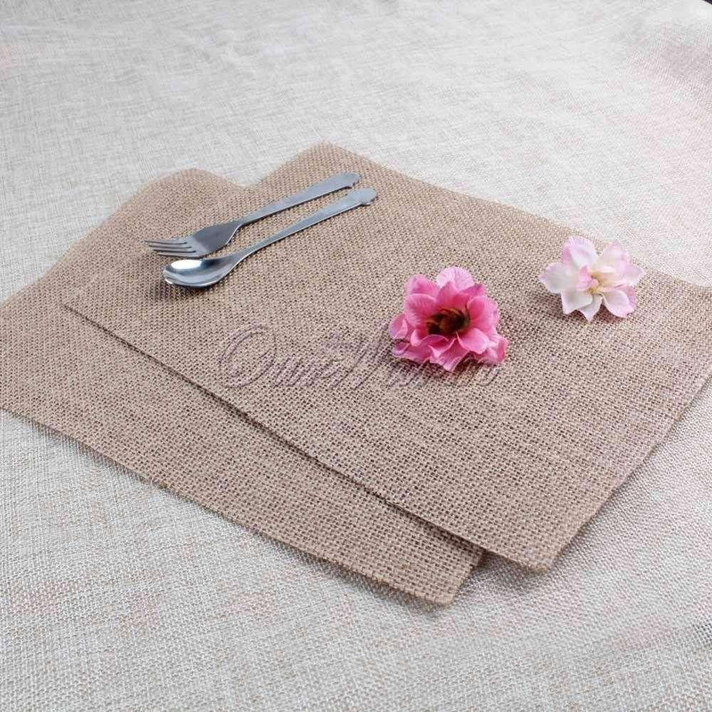 romantic 10pcs burlap table mats place mat jute coaster for kitchen dining room wedding table decoration - Kitchen Table Mats