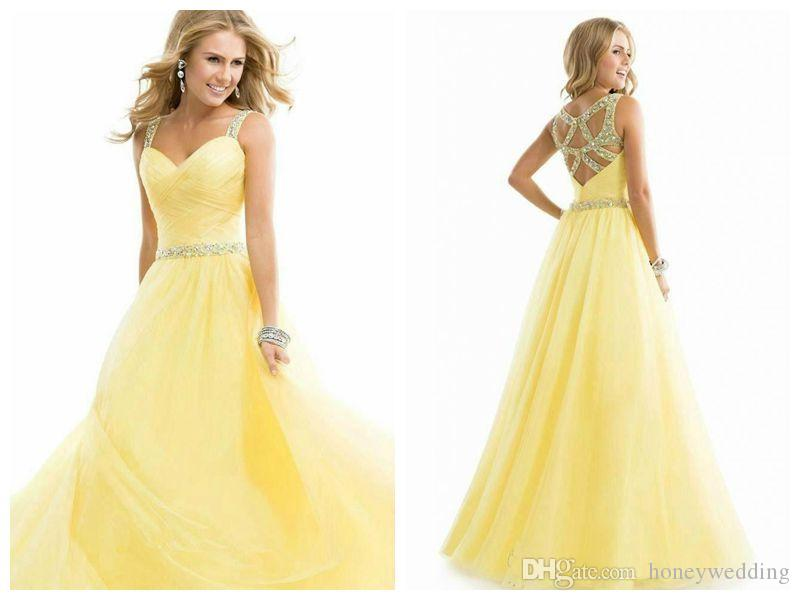 Yellow Lace Evening Gowns Knee Length Evening Dresses