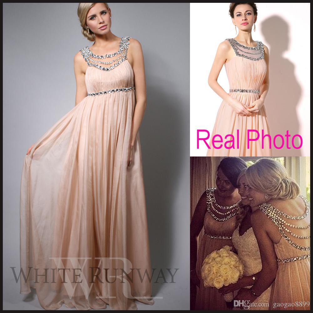 Crystal long bridesmaid dresses beaded chiffon sheer neck for Plus size maternity wedding dresses cheap