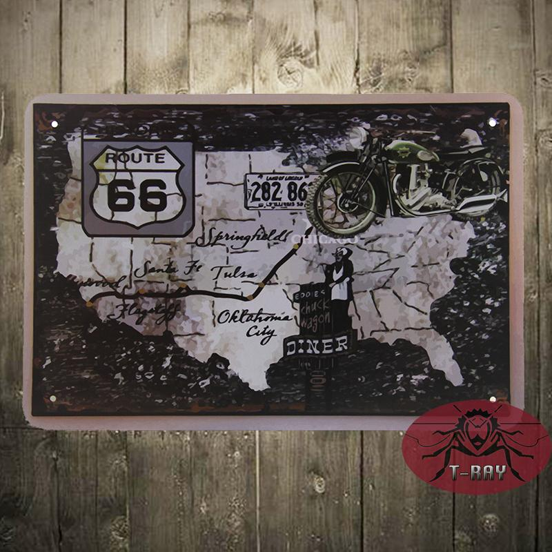 Affordable Rustic Wall Decor : Cheap route main street metal decor wall art