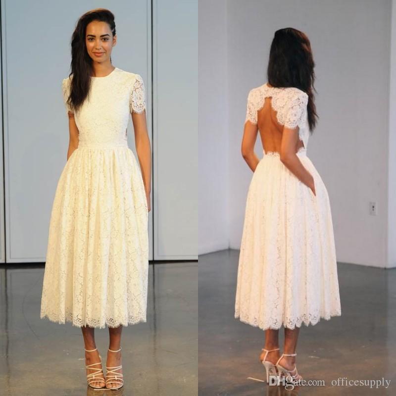 2016 Vintage Tea Length Lace Wedding Dresses Crew Neck Short ...