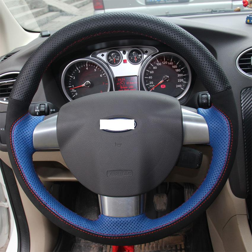 xuji black blue genuine leather black suede steering wheel cover for ford focus 2 3 focus - Ford Focus 2009 Black