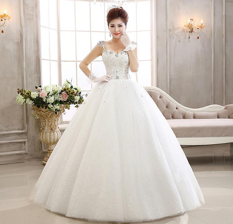 New design white wedding dress princess wedding gown high for Designer wedding dresses outlet